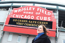 #1 Laura Ricketts poses in front of Wrigley Field Feb. 17. Photo by Hal Baim.