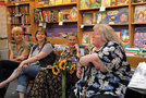 Actors Patricia Kane, Kelli Strickland and Taylor Miller with Allen at the book signing. Photos by Hal Baim.