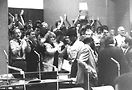 City Council lobbying for gay-rights bill, 1988. Among those in the front row are Al Wardell, Jim Flint and Kit Duffy. Photo by William Burks