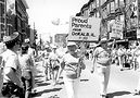 Mildred and Howard Eychaner, parents of Chicago businessman and philanthropist Fred Eychaner, marching in Chicago's 1989 Pride Parade. Photo by Lisa Howe-Ebright