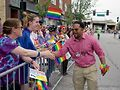 Aurora Mayor Richard C. Irvin greets the crowd along the route of the Aurora Pride Parade. Photos by Tim Carroll Photography