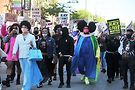 Jo MaMa, left in blue and Lucy Stoole right, lead the March. Photos by Vern Hester