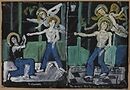 Yannis Tsarouchis. Two studies for the same subject — Three dancers in blue jeans and two figures of Eros with green doors, 1978, Gouache on paper © Yannis Tsarouchis Foundation