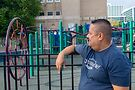Rodriguez at elementary school playground. Photo by Max Lubbers
